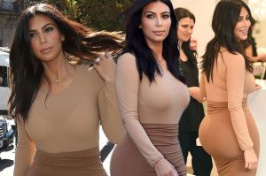 Kim-Kardashian-wearing-a-tight-nude-outfit-showing-off-her-ridiculous-booty